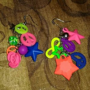 Other - Dangling earrings stars & peace signs